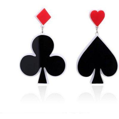 Poker Heart Geometric Funny Earrings