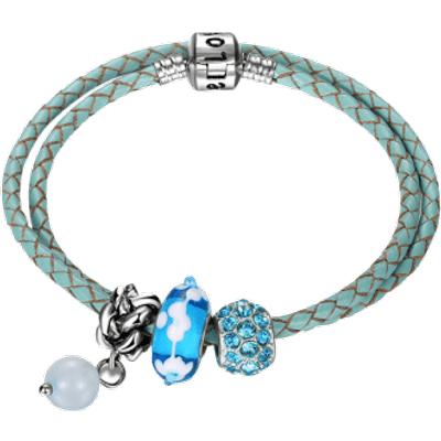 Rhinestone Engraved Love Beaded Charm Bracelet