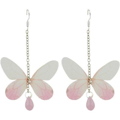Butterfly Drop Earrings with Acrylic Gem