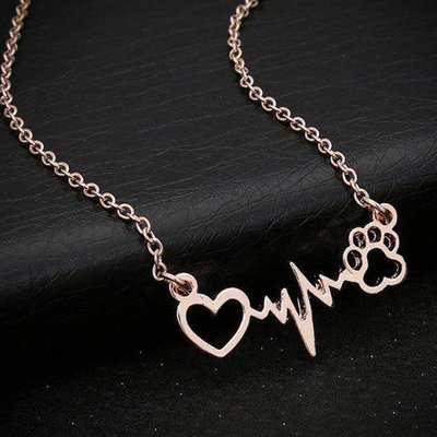 Heart Lightning Paw Shape Necklace