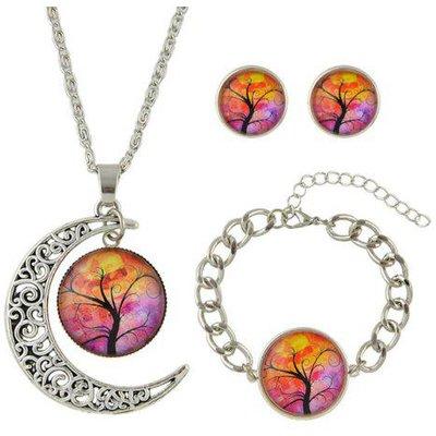 Tree of Life Round Moon Jewelry Set