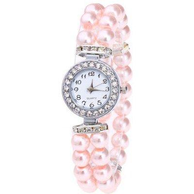 Rhinestone Number Faux Pearl Bracelet Watch