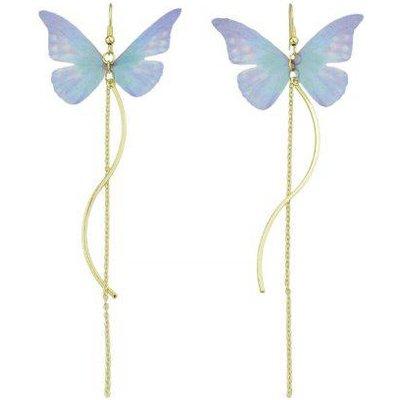Butterfly Chain Pendant Fish Hook Earrings