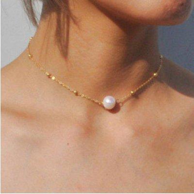 Faux Pearl Collarbone Pendant Necklace