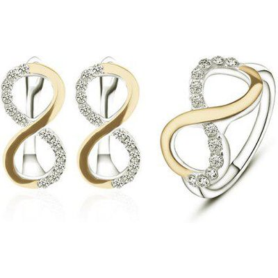 Rhinestone 8 Infinite Earring with Ring Set