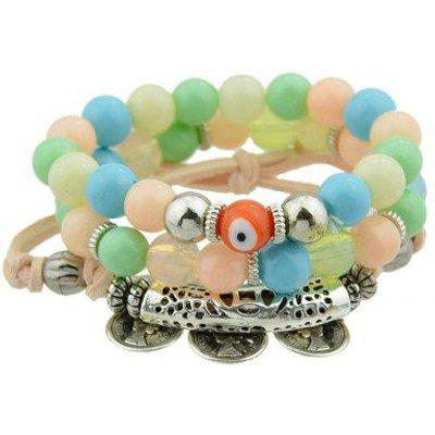 Coin Eye Charm Beaded Bracelet Set