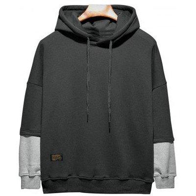 Plus Size Hooded Color Block Panel Raglan Sleeve Hoodie