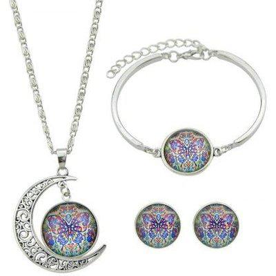 Butterfly Pattern Moon Necklace Bracelet Earrings
