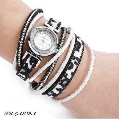 FULAIDA Women Quartz Watch Leather Band Rhinestone Bangle Wristwatch