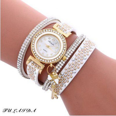 Fulaida Quartz Female Rhinestone Watch Leather Band Hand Decoration Wristwatch