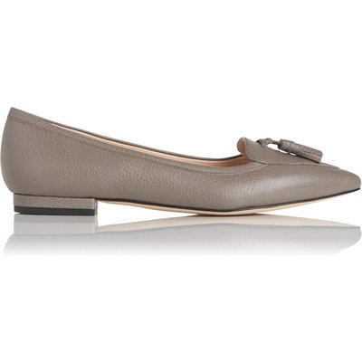 Dixie Grey Grained Leather Flats