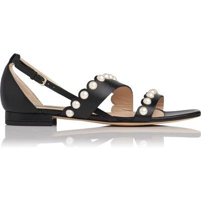 Alessa Black Nappa Leather Flat Sandals