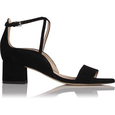 Dina Black Suede Formal Sandals