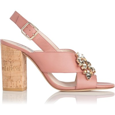 Ynes Dark Pink Leather Formal Sandals