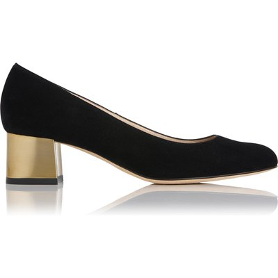Maisy Black Suede Gold Heel Courts