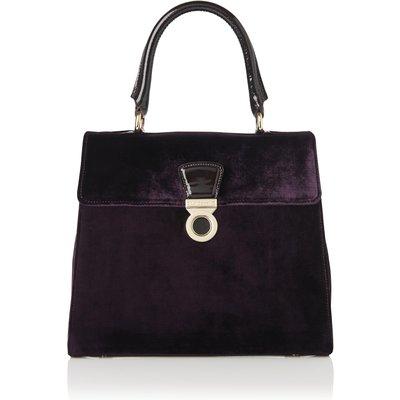 Amy Purple Velvet Patent Shoulder Bag, Dark Loganberry