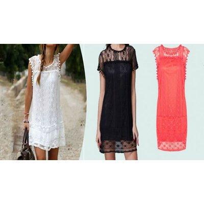 Lace-Detail Summer Shift Dress - 3 Colours, 5 Sizes