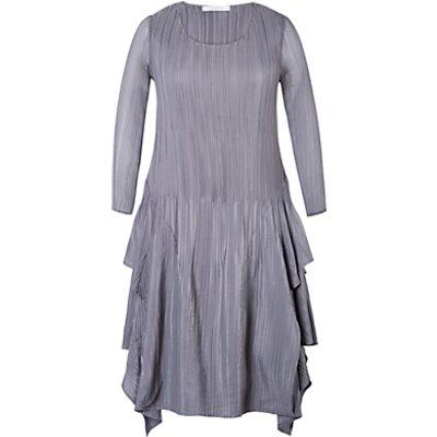 Chesca Crush Pleat Layered Dress, Silver/Grey
