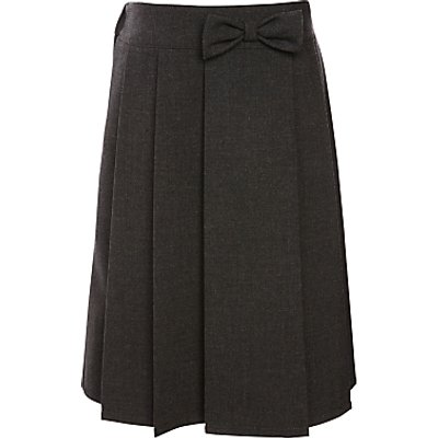 John Lewis Girls' Adjustable Waist Pleated School Skirt With Bow, Grey