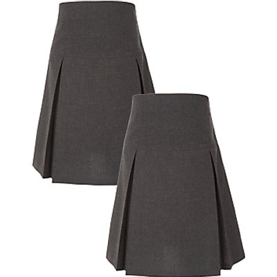 John Lewis The Basics Girls' Pleated Skirt, Pack of 2, Grey