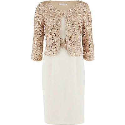 Gina Bacconi Moss Crepe Dress with Guipure Lace Jacket, Almond