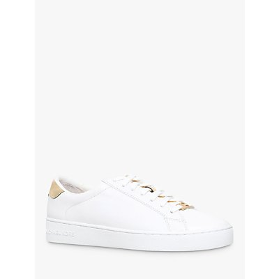 MICHAEL Michael Kors Irving Flat Trainers, White/Gold Leather
