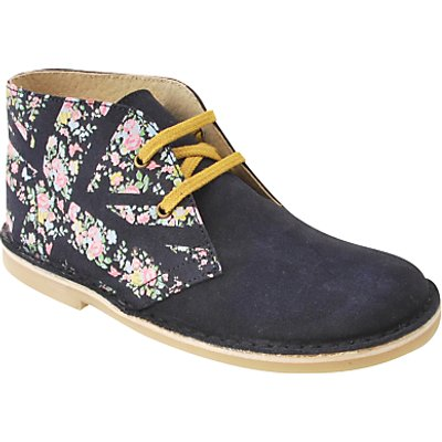 Start-rite Children's Colorado Leather Floral Lace Boots, Navy/Floral