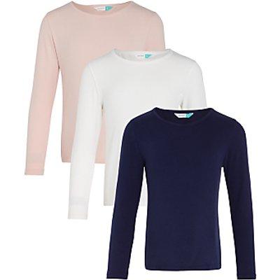 John Lewis Girls' Plain T-Shirt, Pack of 3, Pink/Blue