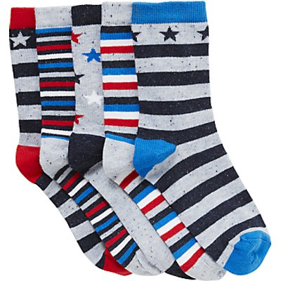 John Lewis Nautical Stars Socks, Pack of 5, Multi