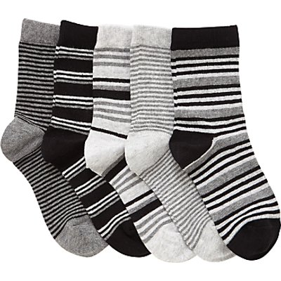 John Lewis Children's Stripe Socks, Pack of 5, Black