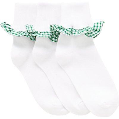 John Lewis Children's Gingham Trim Socks, Pack of 3