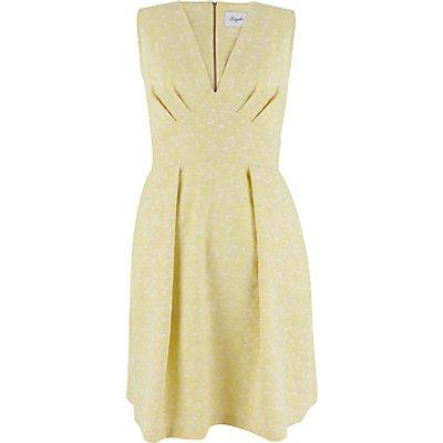 Closet V Neck Full Jacquard Dress, Yellow