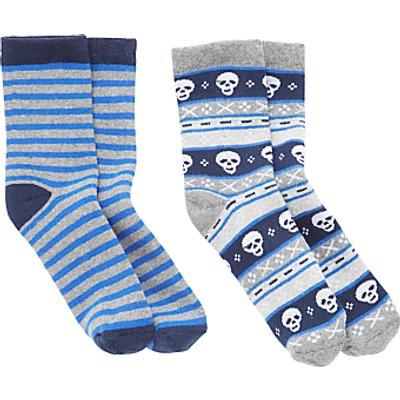 John Lewis Children's Skull Stripe Thermal Socks, Pack of 2, Multi
