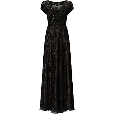 Phase Eight Collection 8 Schubert Lace Beaded Full Length Dress, Black/Nude