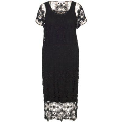 Chesca Crochet Dress, Black