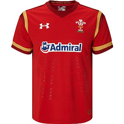 Under Armour Official 2015/16 Welsh Rugby Union Shirt, Red/White