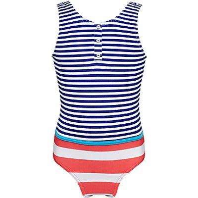 John Lewis Girls' Nautical Stripe Swimsuit, Royal Blue