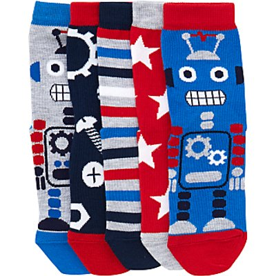 John Lewis Children's Robot Socks, Pack of 5, Blue/Red