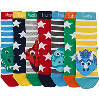 John Lewis Children's Days Of The Week Dinosaur Socks, Pack of 7, Blue/Multi