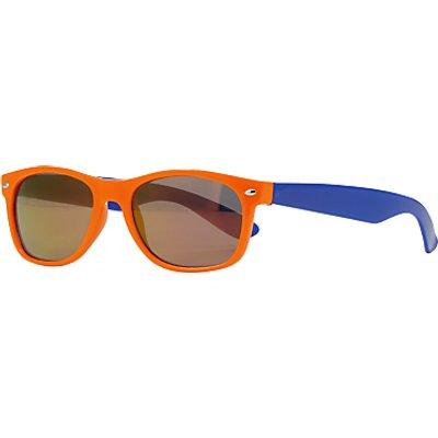 John Lewis Children's Colour Block Wayfarer Sunglasses, Orange/Blue
