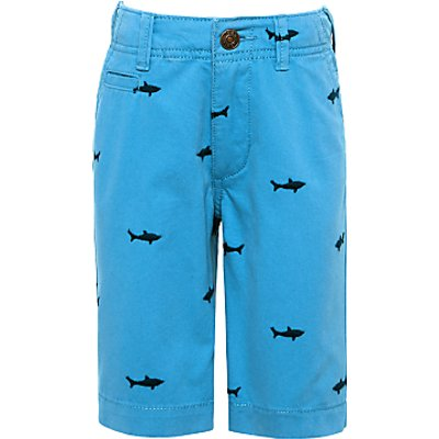John Lewis Boys' Shark Embroidery Chino Shorts, Blue
