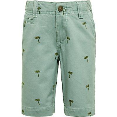 John Lewis Boys' Palm Tree Embroidery Chino Shorts, Khaki