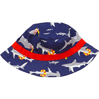 John Lewis Children's Shark Print Bucket Hat, Navy