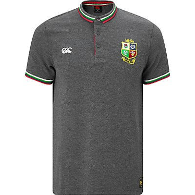 Canterbury of New Zealand British and Irish Lions Rugby Tipped Polo Shirt, Grey