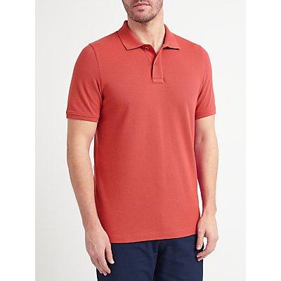 John Lewis Organic Cotton Short Sleeve Polo Shirt, Washed Red