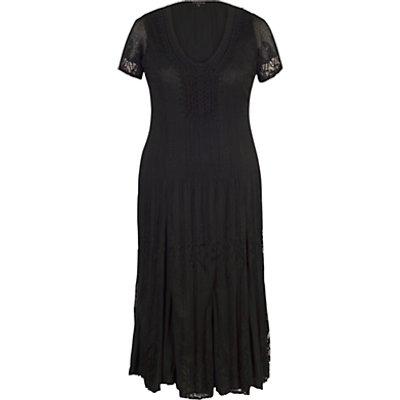 Chesca Border Lace Crush Pleat Dress, Black