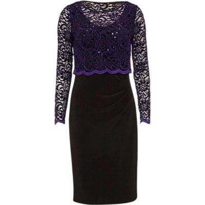 Gina Bacconi Dress With Lace Overtop, Aubergine