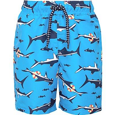 John Lewis Boys' Shark Print Board Shorts, Blue