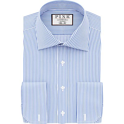 Thomas Pink Grant Slim Fit Double Cuff XL Sleeve Stripe Shirt