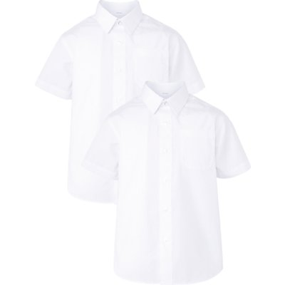 John Lewis Boys' Easy Care Short Sleeve School Shirt, Pack of 2, White